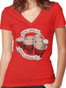 Beer Pong Champion Women's Fitted V-Neck T-Shirt