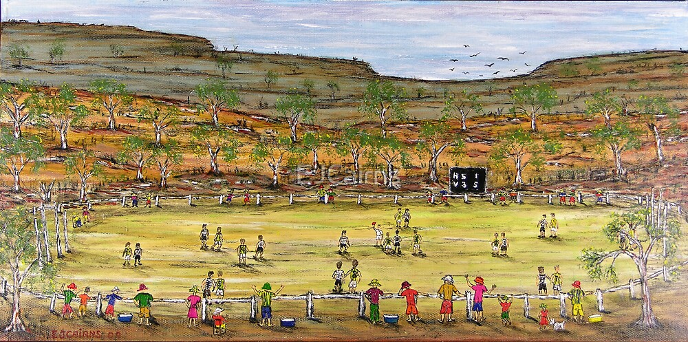"""Aussie Rules """"Football in the Bush"""" Original Sold by EJCairns"""