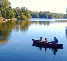 Fishing With Dad, Packanack Lake, Wayne NJ by Jane Neill-Hancock