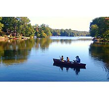Fishing With Dad, Packanack Lake, Wayne NJ Photographic Print