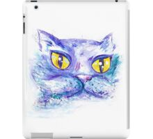 Blue Impressionism Watercolor Cat  iPad Case/Skin