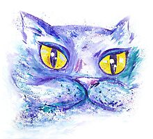 Blue Impressionism Watercolor Cat  by kisikoida