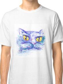 Blue Impressionism Watercolor Cat  Classic T-Shirt