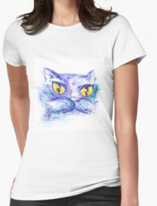Blue Impressionism Watercolor Cat  T-Shirt