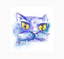 Blue Impressionism Watercolor Cat  Womens Fitted T-Shirt