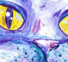 Blue Impressionism Watercolor Cat  Sticker