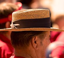 Hat Series - Man Wearing a Straw Hat with a Large Brown Band by Buckwhite