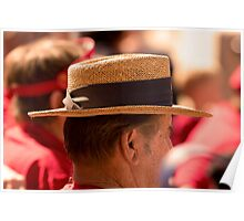 Hat Series - Man Wearing a Straw Hat with a Large Brown Band Poster