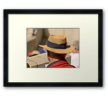 Hat Series - Man Wearing A Frayed Straw Hat Framed Print