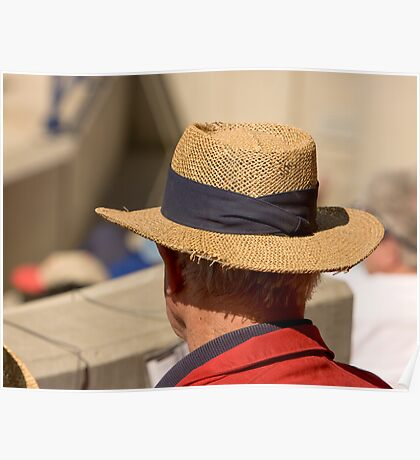 Hat Series - Man Wearing A Frayed Straw Hat Poster