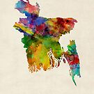 Bangladesh Watercolor Map by Michael Tompsett