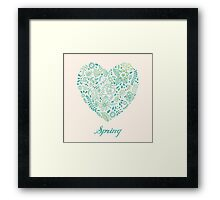 Heart shaped spring love vector cute pattern Framed Print