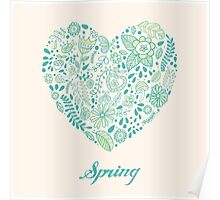 Heart shaped spring love vector cute pattern Poster