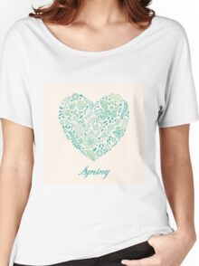 Heart shaped spring love vector cute pattern Women's Relaxed Fit T-Shirt
