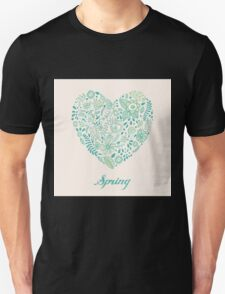 Heart shaped spring love vector cute pattern Unisex T-Shirt