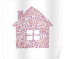 House shaped vector pattern Poster