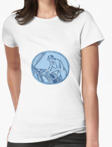 Auto Mechanic Automobile Car Repair Etching Womens Fitted T-Shirt