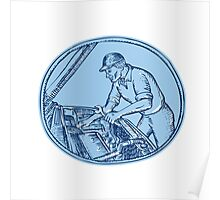 Auto Mechanic Automobile Car Repair Etching Poster