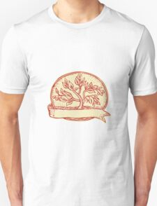 Olive Tree Ribbon Oval Etching T-Shirt