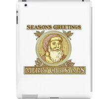 Santa Claus Father Christmas Holly Etching iPad Case/Skin