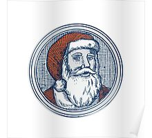 Santa Claus Father Christmas Vintage Etching Poster