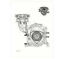 Mazda Rotary Engine Blueprint for Power 13B Art Print