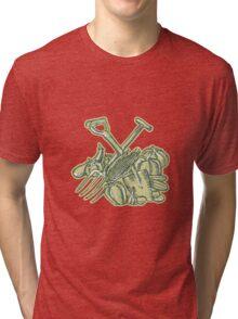 Spade Pitchfork Crop Harvest Etching Tri-blend T-Shirt