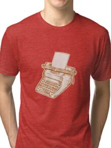 Vintage Old Style Typewriter Etching Tri-blend T-Shirt