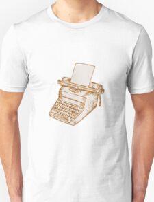 Vintage Old Style Typewriter Etching T-Shirt