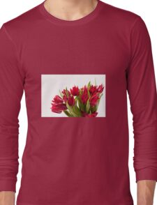 Water sprinkled cut red tulips bouquet  Long Sleeve T-Shirt