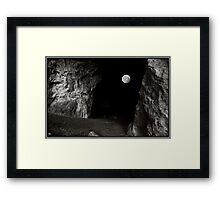 Full Moon through the Mouth of a Cave Framed Print
