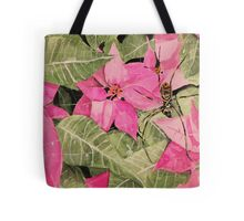 Spider over pink flowers Tote Bag