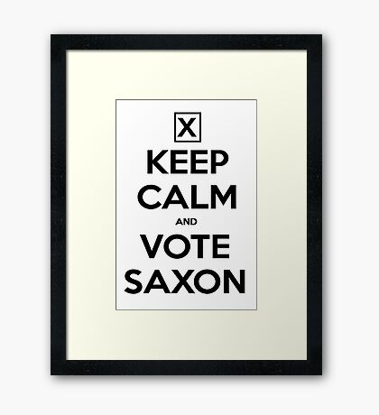 Vote Saxon - White Framed Print
