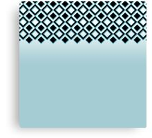 Baby Blue with Black Geometric Ornate Squares Canvas Print