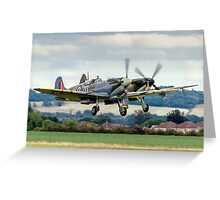 Two Spitfires taking off at Duxford Greeting Card