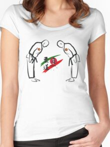Judo Bowing Illustration Women's Fitted Scoop T-Shirt
