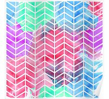 Bright Colorful Watercolor Split Chevron Poster