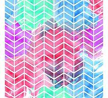 Bright Colorful Watercolor Split Chevron Photographic Print