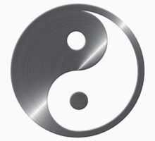 Faux Silver Brushed Steel Yin Yang Symbol 3 Kids Clothes