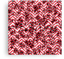 Neon Red Zigzag on Black and White Floral Print Canvas Print