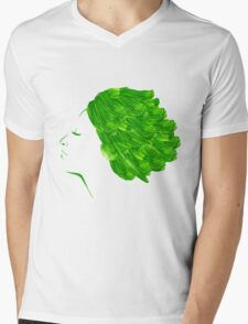 Girl green watercolor Mens V-Neck T-Shirt