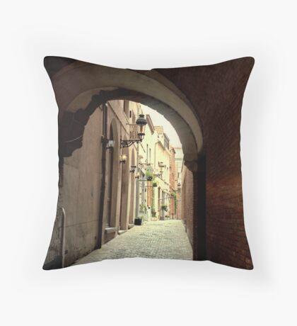 Alleyway in Brussels, Belgium Throw Pillow