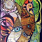The rooster, fish, cat, and man in the moon by Alison Gilbert