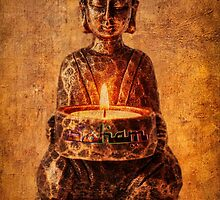 Buddha with candle by inkedsandra