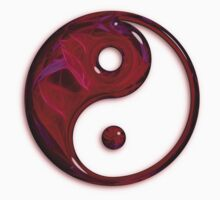 Red Abstract Glass Yin Yang Symbol Kids Clothes