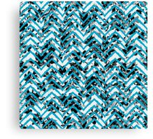 Neon Blue Zigzag on Black and White Floral Print Canvas Print