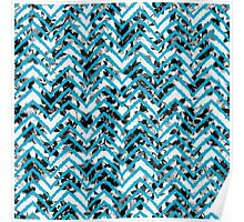 Neon Blue Zigzag on Black and White Floral Print Poster