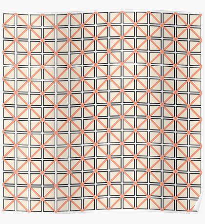 Coral Peach, Black, and White Elegant Geometric Poster