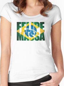 Felipe Massa - Brazilian Flag - Formula 1 Women's Fitted Scoop T-Shirt