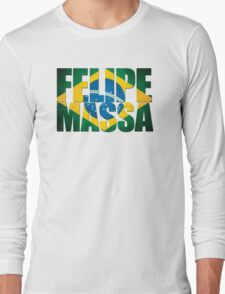 Felipe Massa - Brazilian Flag - Formula 1 Long Sleeve T-Shirt